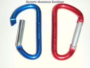 Fotobeispiel Eloxiertes Aluminium. 2 Karabiner